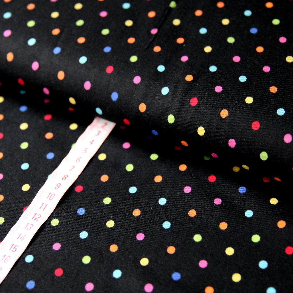 jersey stoff tupfen polka dots punkte bunt auf schwarz kaufen. Black Bedroom Furniture Sets. Home Design Ideas