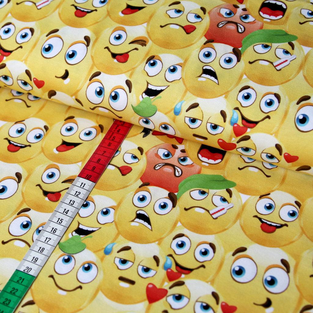Jersey Stoff Emoji Fun Gelb Viele Emojis Und Smileys