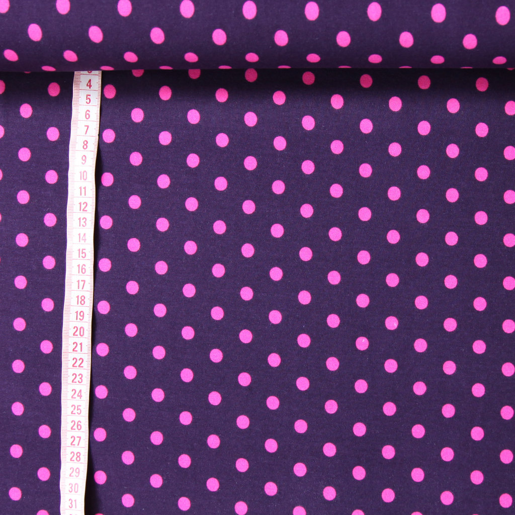 jersey stoff lila dots pink polka punkte g nstig kaufen. Black Bedroom Furniture Sets. Home Design Ideas