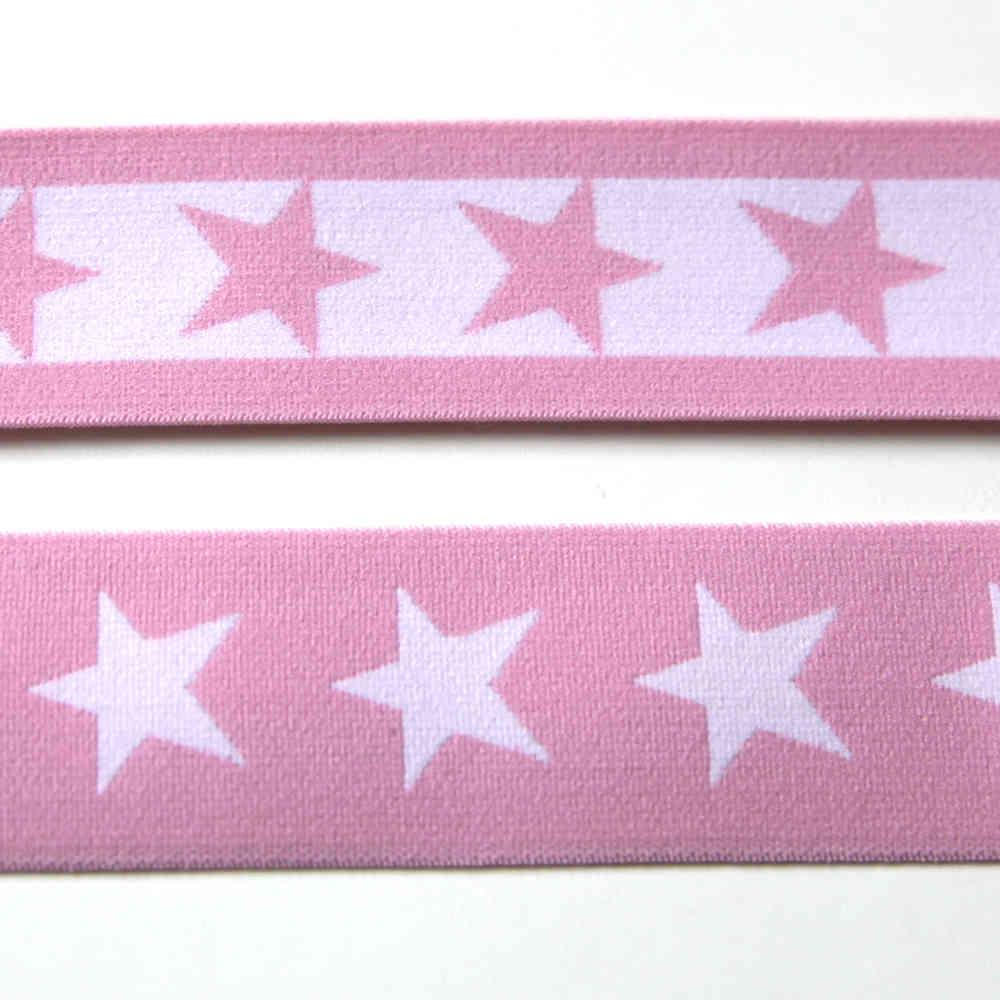 Gummibänder mit Sternen Gummiband Pink Weiße Sterne 40mm breit