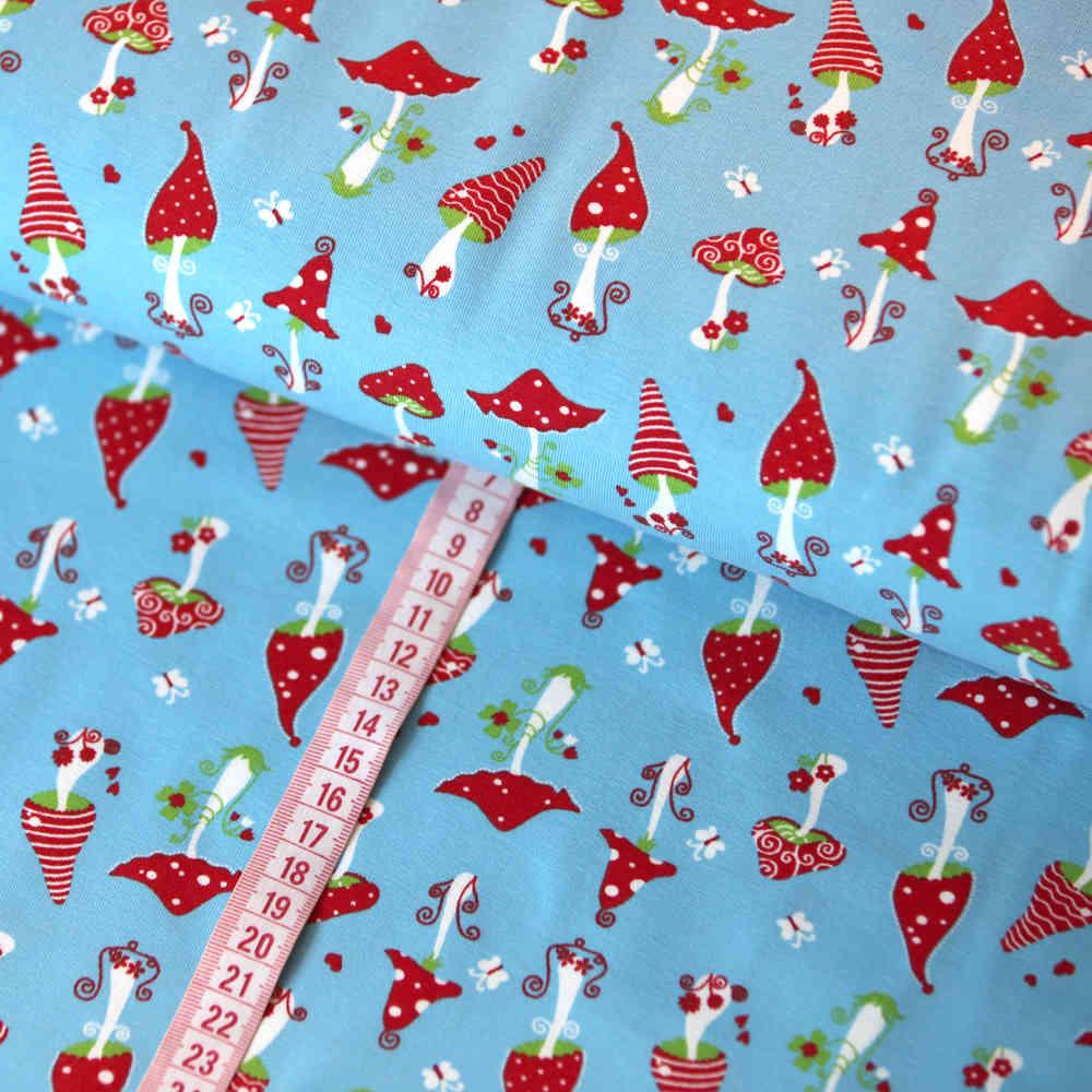 33229a59 Jersey Stoff Glückspilze Fliegenpilze Rot Blau Tante Ema kaufen