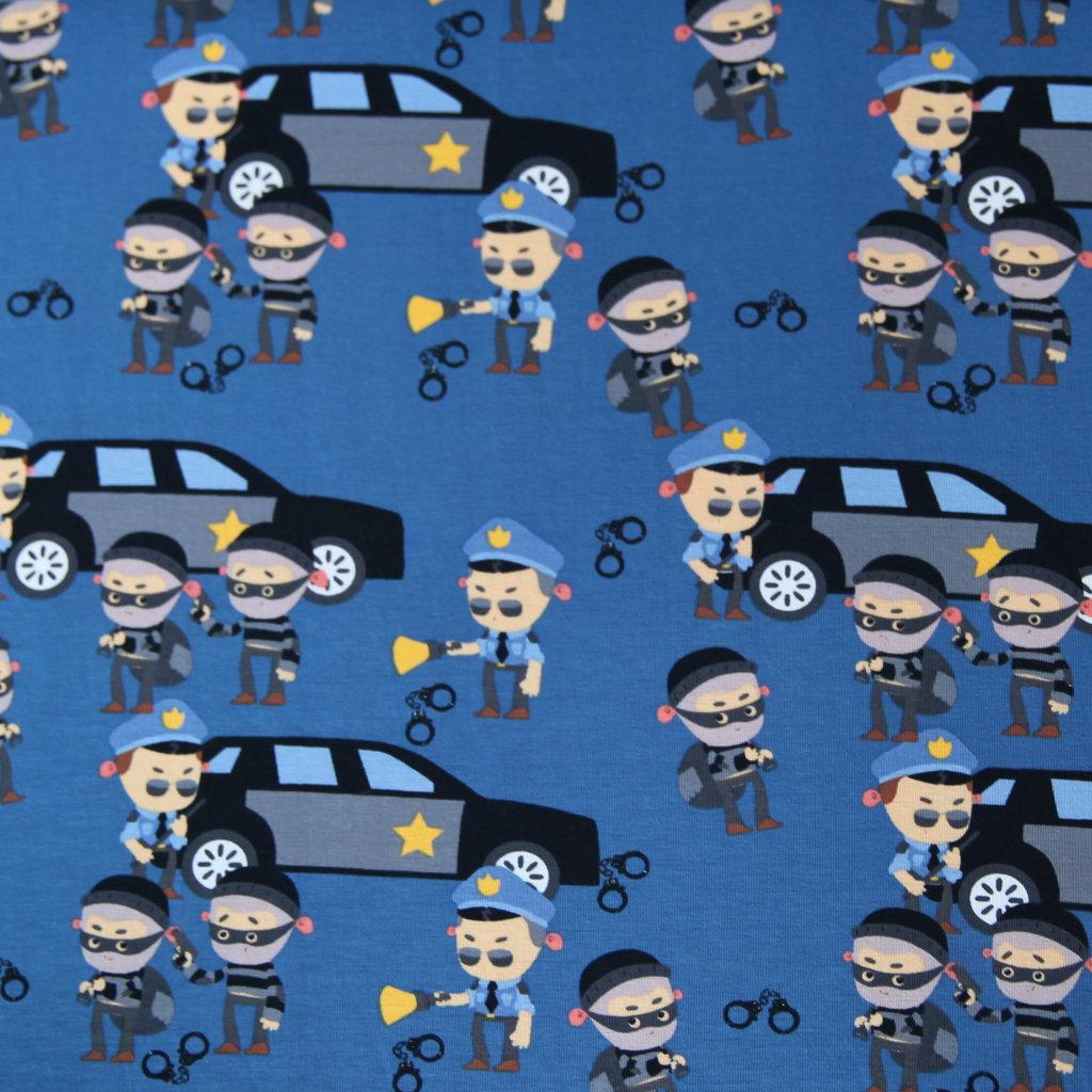 jersey stoff polizei police auf rauch blau kaufen. Black Bedroom Furniture Sets. Home Design Ideas