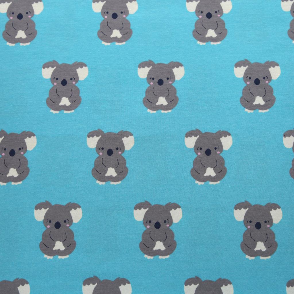 Stoff Baumwolle Jersey Koala Bären weiß grau bunt Kinderstoff Kleiderstoff