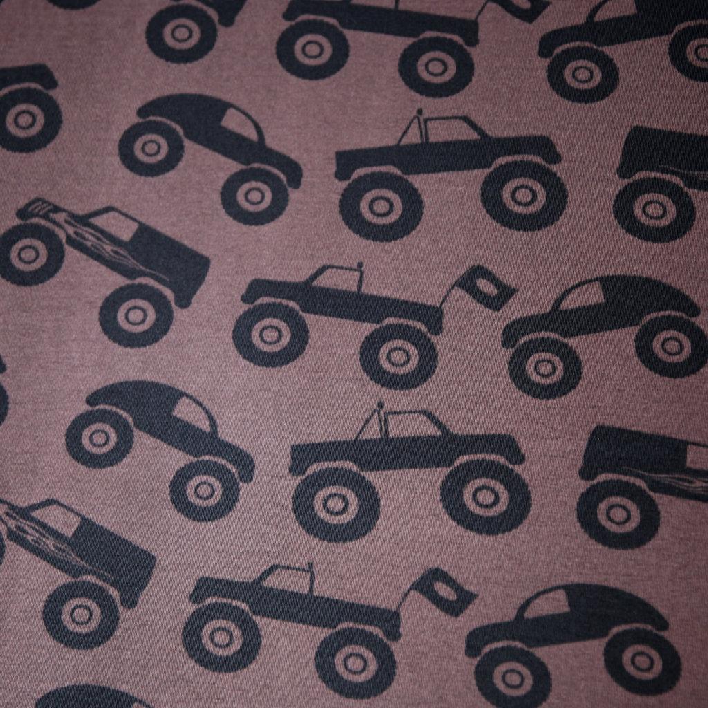 jersey stoff schwarze monster trucks auf braun trend stoffe. Black Bedroom Furniture Sets. Home Design Ideas