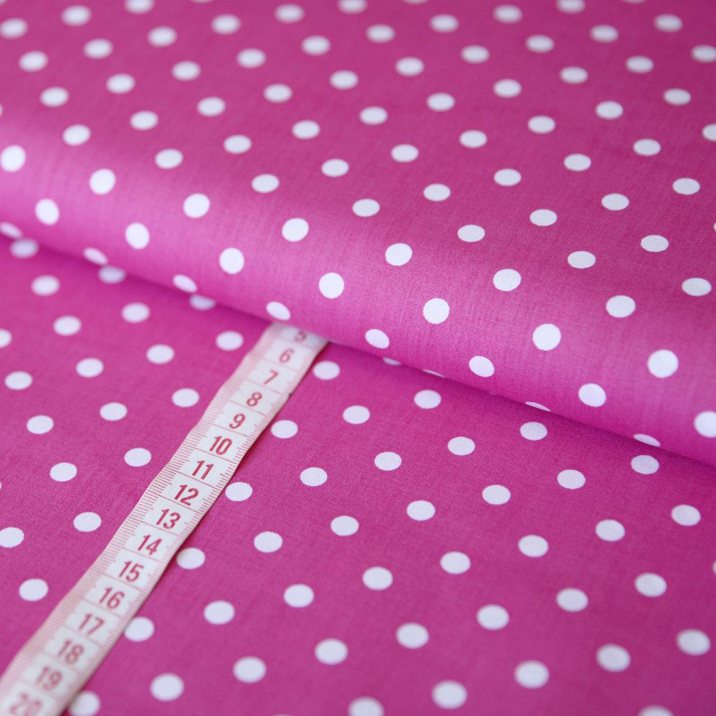 Baumwollstoff Punkte groß Ø 7mm rosa weiß