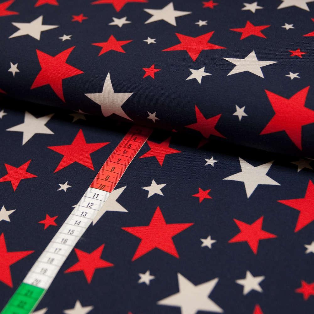 ebf0b634 Jersey Stoff Sand und Rote Sterne auf Schwarzblau günstig kaufen