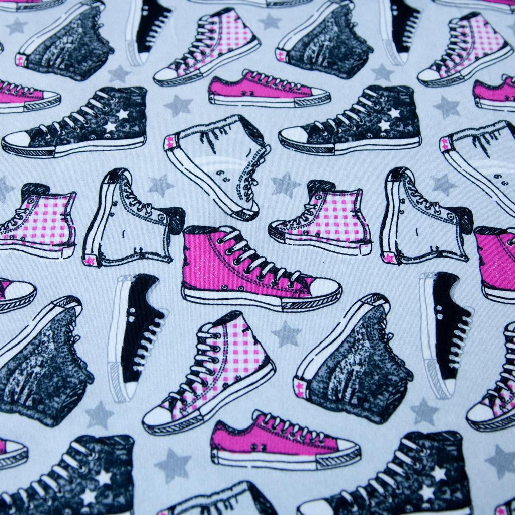 Jerseystoff Chucks Schuhe Pink Fuchsia Schwarz auf Grau TOP WARE