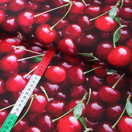 Kirschen 3D Jersey Stoff Digital Cherries Obst