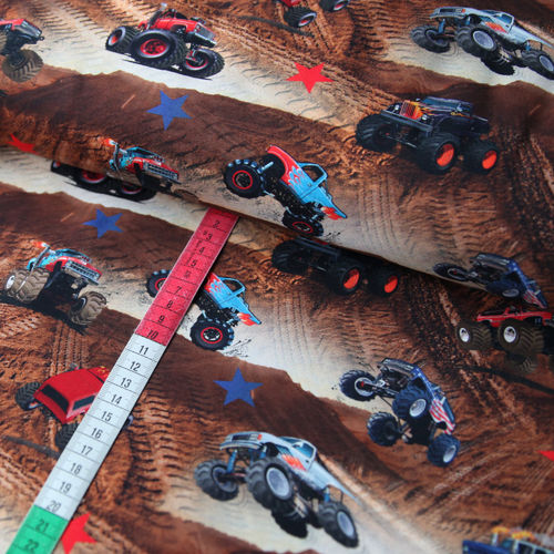 Jersey Stoff Monster Trucks Digitaldruck Desert Trucks