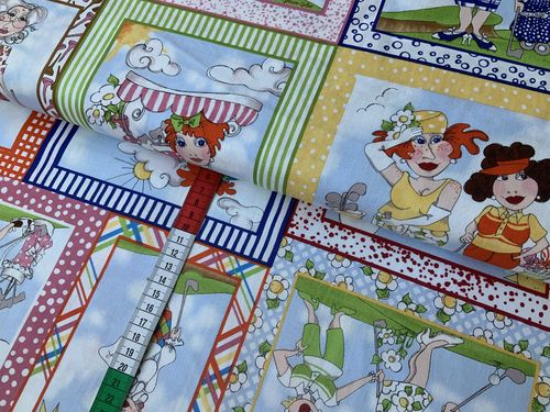 Baumwollstoff You Golf Girl Patchwork bunt Baumwolle